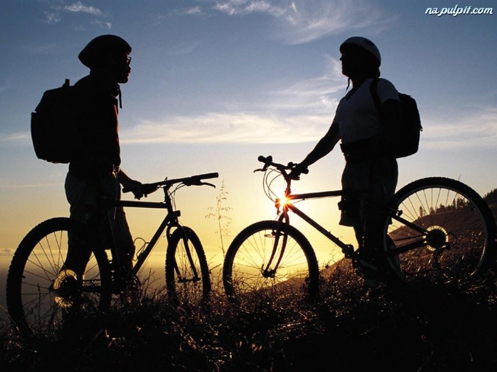 kaski, Rower, Zachód Słońca
